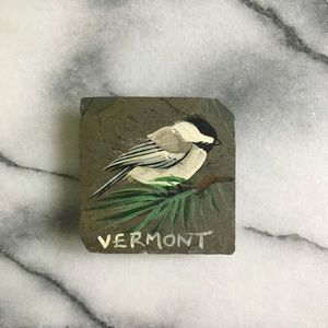Hand painted chickadee bird slate stone magnet